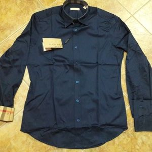 BURBERRY BRIT MEN`S NAVY SHIRT %100 COTTON SMALL